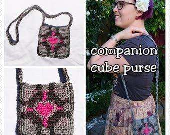 SALE! Portal Companion Cube Small Tote Bag Purse in Grey and Pink