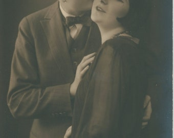 Goodnight Kiss After the Soiree | Flapper Couple | Evening Attire | 1920's Antique Postcard | Roaring Twenties |