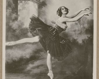 Madame Anna Pavlova | Les Sylphides | Russian Prima Ballerina | Antique Postcard | Petite Wings | Dark Ruched Tutu | Pastoral Background |
