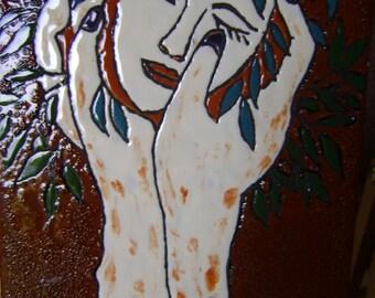 Table partitioned enamels 'Portrait of women' Lena