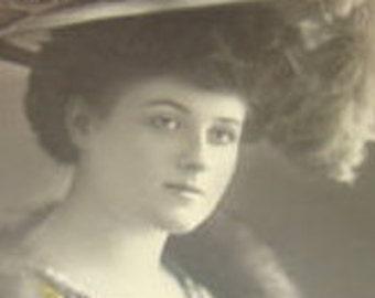 Vintage RPPC of Pretty Lady Wearting A Fancy Plumed Hat
