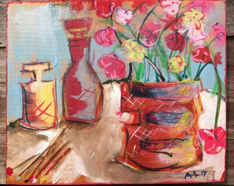 SOLD: Still Life w/ Flowers and Bottles SOLD