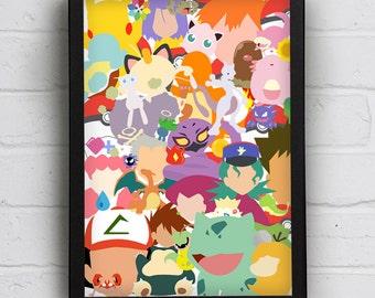 Got Them All - Geek, Gaming Print, Nintendo, Pokemon, Nerd, Fun, Children's, Kids Art, A3, 11x14, A4, 8x10