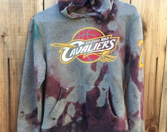 Size Small Hand-Bleached Dyed & Studded Cavaliers Hoodie