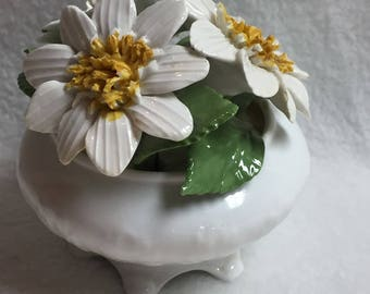 White Porcelain Flowers in Small White Bowl - Radnor (#020)