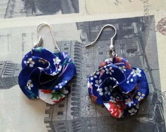 Blue Origami Paper Earrings