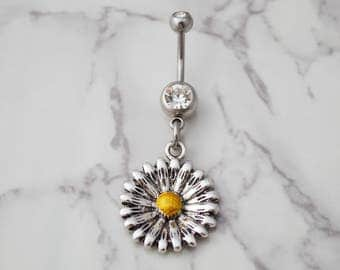 Sunflower Belly Button Ring, Daisy Belly Ring, Friend Belly Ring, Navel Ring Piercing, Body Jewelry, Bellybutton, Beach Gift