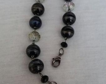 Linked Bracelet, Black Bracelet, Crystal Bracelet, Beaded Bracelet, Gift for Her