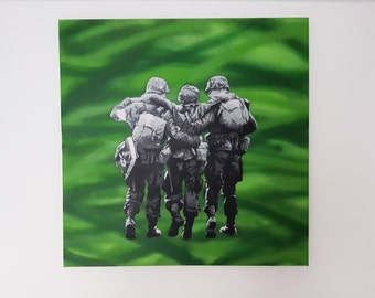 Band of Brothers, Original Painting, spray paint, canvas, art, custom, graffiti, stencil