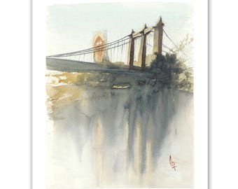 Hennepin Avenue Bridge and Grain Belt Sign, Minneapolis, Minnesota, watercolor, fine art print