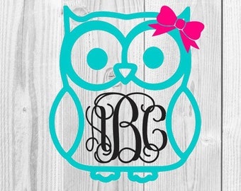 Owl Monogram SVG Cutting File, Cute Owl Design, Owl Monogram, Owl with Bow Monogram, Cute Owl, SVG Cutting Files, Cricut Cutting Files, SVG