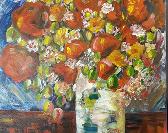 """Original, Abstract, Acrylic, Textured Painting, 20in X 16 in, title: """"Feel the peace"""", Floral Painting on Canvas by Anita"""