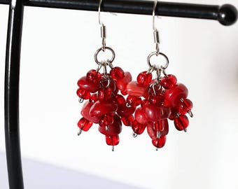 Grape Cluster Earrings Semi-precious Stone Chips Red Coral - Nickel Free
