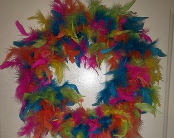 "Feather Wreath Gay Pride 16"" Rainbow-theme 2-sided for Doors & Windows  20 dollars includes shipping/handling"