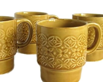 Vintage Set of Four 1970s Stackable Coffee Mugs/ Gold Floral Design/ Made in Japan