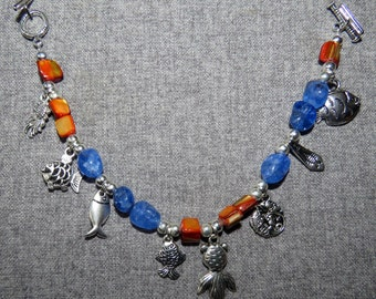 Lucky Fish Charm Bracelet w/ Orange Abalone & Blue Quartz