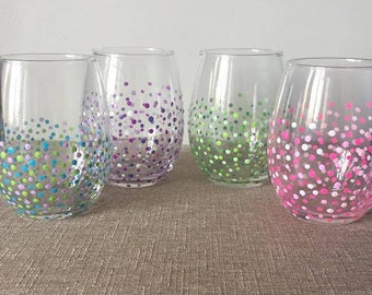 Confetti Painted Stemless Wine Glasses
