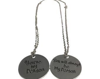 Grey's Anatomy Necklace Set You're My Person You Will Always Be My Person Pendants Two Are Meredith Grey Cristina Yang Quote Jewelry Gift