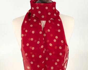 Red Polka Scarf, Red Dot Scarf, Cute Red Scarf, Fashion Scarf, Color Scarf, Girl Scarf, for her, Women Scarf, Soft Scarf, Elegant Scarf