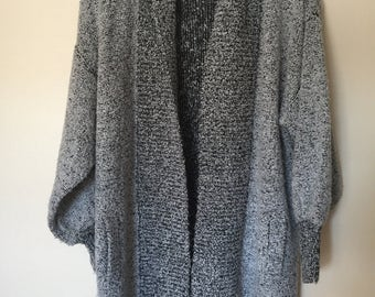 Vintage Oversized Open Sweater Cardigan 80's Medium