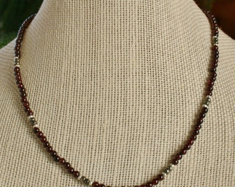 Handmade Necklace - garnet and pyrite with Thai silver clasp