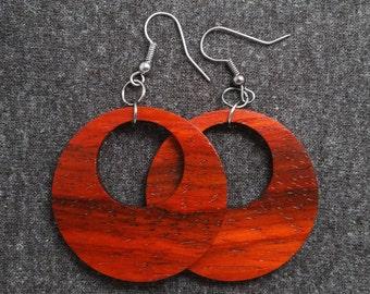 Wood hoop earrings, padauk and gunmetal 0047
