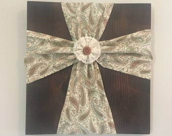 Country Fabric Cross Wall Art