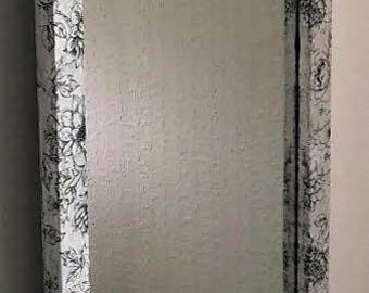 Decoupage Mirror in Black and White Floral. Elegant piece.