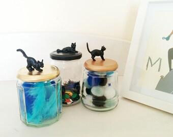 Black Cat Jar // Animal Jar // Handmade and Upcycled Jar // Home decor // Glass storage // Copper jar // Bronze jar // Gold jar // Black jar