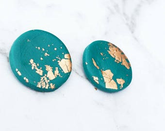 Large Teal Gold Leaf Earrings
