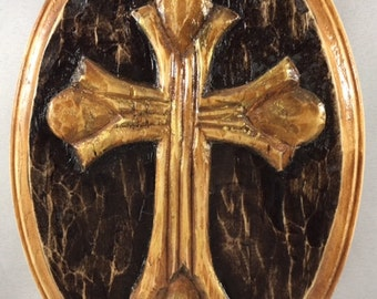 Hand-Carved Wooden Cross Plaque
