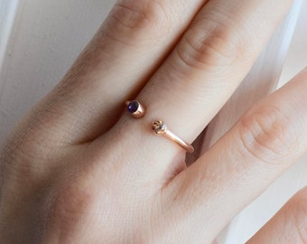 Dual Birthstone Ring - Birthstone Ring - Couples Ring - Personalized Ring - His and Hers Promise Ring - Bridesmaid Gift - Mother's Day Gift