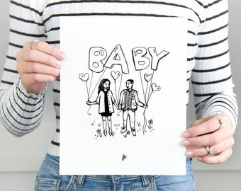 PRINT Custom Handdrawn A4 Family Portrait, personalized print family, drawing illustration gift