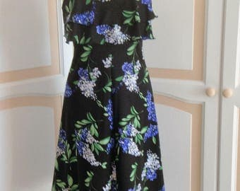 Livien's Pretty Black/Flowered Dress size 10 uk
