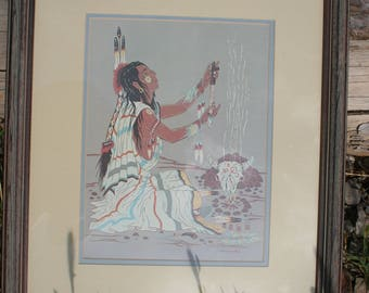Peace Pipe Prayer by Woody Crumbo, signed and framed print