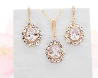 Gold Bridal necklace set, wedding accessories, wedding jewelry set, cubic zirconia, crystal necklace crystal earrings bridesmaid jewelry set