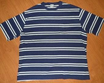 Vintage Islander Beach Surf Men's T-shirt Blue White Striped Soft 50/50 Blend  Made in USA Size 3XL