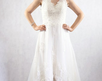 High low lace dress / White lace dress / Wedding dress for hire / Custom made dress / Lace dress / Handmade gown