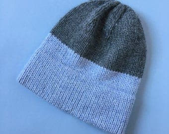 Two Tone Color Block Knit Hat in Light Blue and Grey