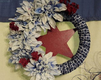 Americana Wreath, Red, white and blue, 4th of July