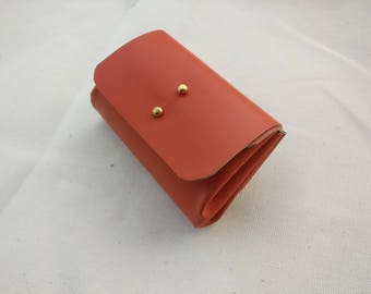 accordion wallet, leather coin purse, orange