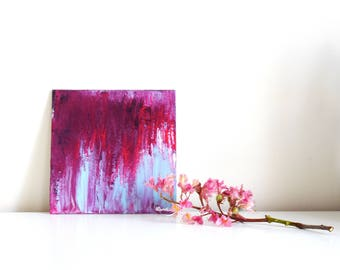 Abstract painting 'Blossom' ORIGINAL, acrylic on cardboard, free shipping, small, Botany, flowers, pink, blue