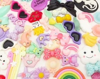 Decoden Assorted Cabochon Mix (10 pcs / 30 pcs by Random) Kawaii Cabochons Resin Polymer Clay Cell Phone Deco