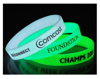 100 Pcs Custom Printed Wristbands - GLOW In the Dark - Silicone Rubber Wristbands Bracelet FREE SHIPPING