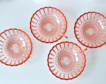 Vintage French Pink Glass Bowls / Depression Glass Dishes Ice Cream Dishes / Hollywood Art Deco Cocktail Glasses / Rose Coral Glass MCM