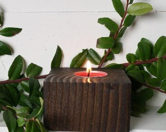 Wooden Candle Tea Light Holder for the Rustic Decor Lover