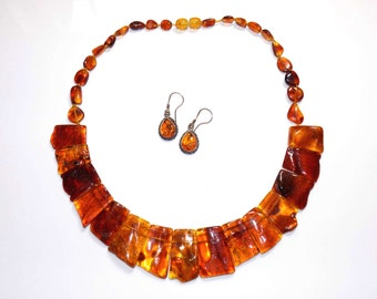 Baltic Amber Necklace and Sterling Silver Earring set