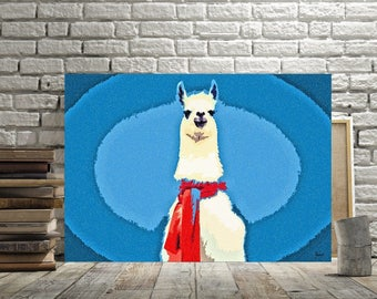 Llama Print, Animal Art Decor, Fun llama Poster, Canvas Option, Wildlife Wall Art, Nursery Gift, Kids Room Art Picture, Blue Red Childs Room