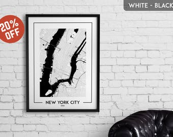 NEW YORK CITY map print, New York City poster, New York City wall art, New York City city map, New York City map decor, New York City gift