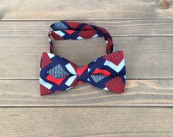 Blue and Red Bow Tie - Pre-tied Bow Tie - Geometric Bow Tie - Mens Formalwear -